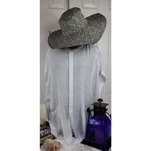 none Accessories - Oversized Floppy Woven Straw Aztec Print Beach Hat